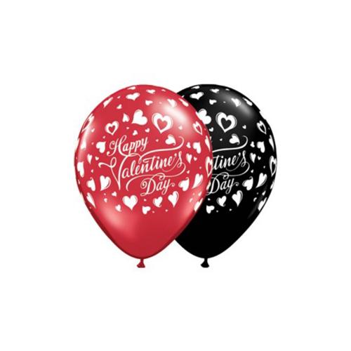 Ballons valentine rouge noir 11''