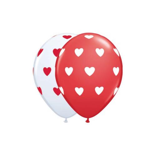 Ballons gros coeur blanc et rouge 11''